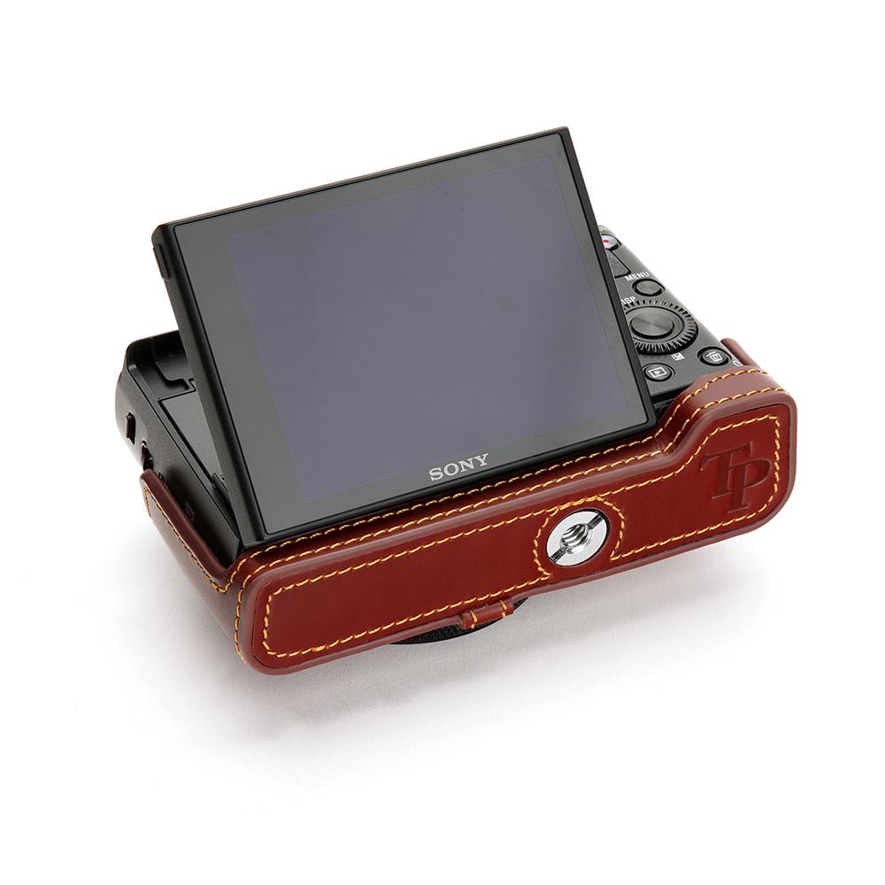 TP Original SONY RX100VII (DSC-RX100M7) 用 ボディーハーフケース オイルブラウン
