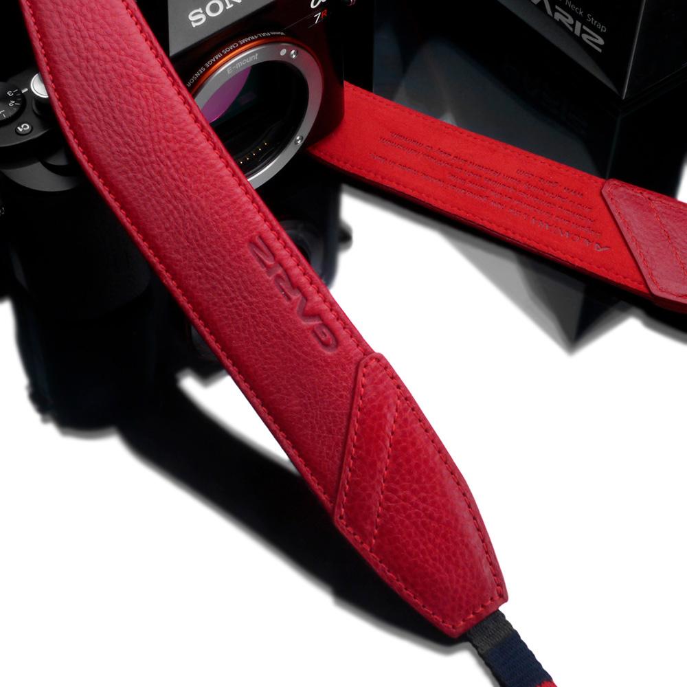 GARIZ Italian Leathere with Alcantara カメラネックストラップ AT-DSLAR レッド
