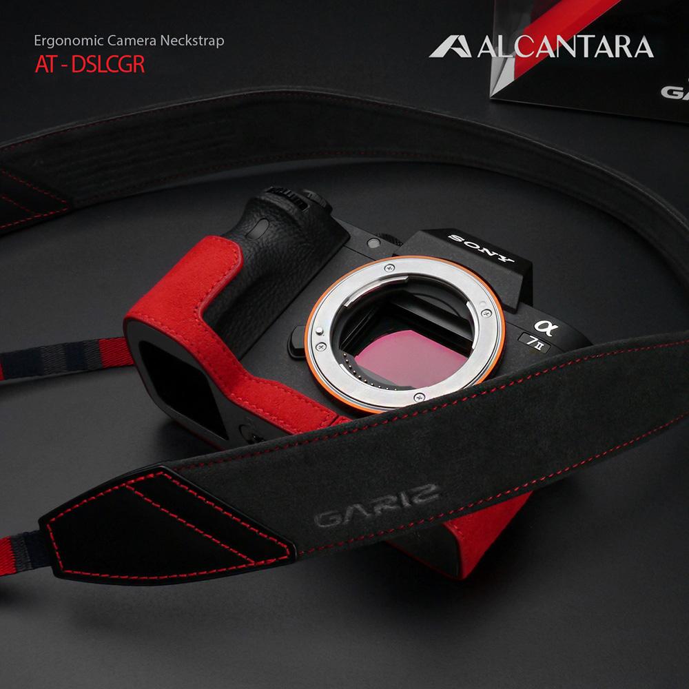 GARIZ Alcantara カメラネックストラップ AT-DSLCGR チャコールグレー/レッドステッチ