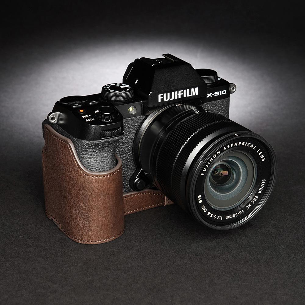 TP Original FUJIFIFILM X-S10 用 ボディーハーフケース ダークブラウン