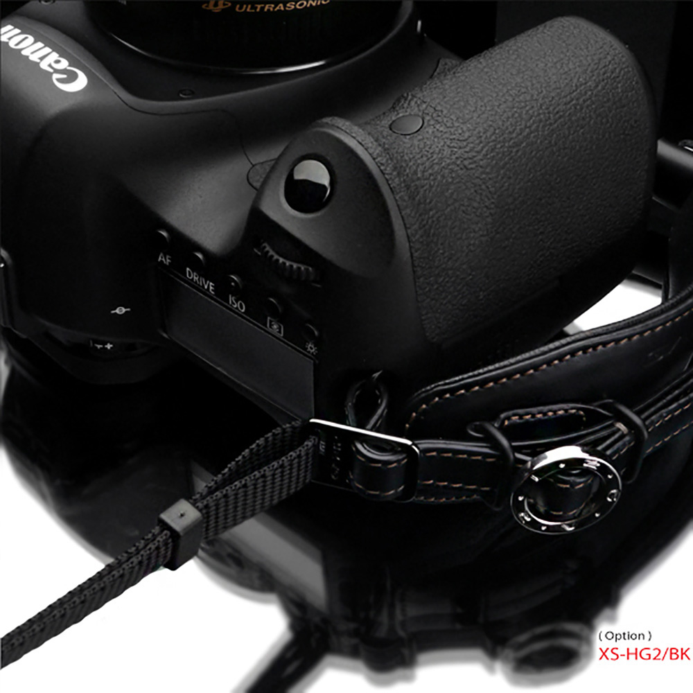 GARIZ 本革カメラネックストラップ ミニポーチ付 ブラック XS-DSLBK