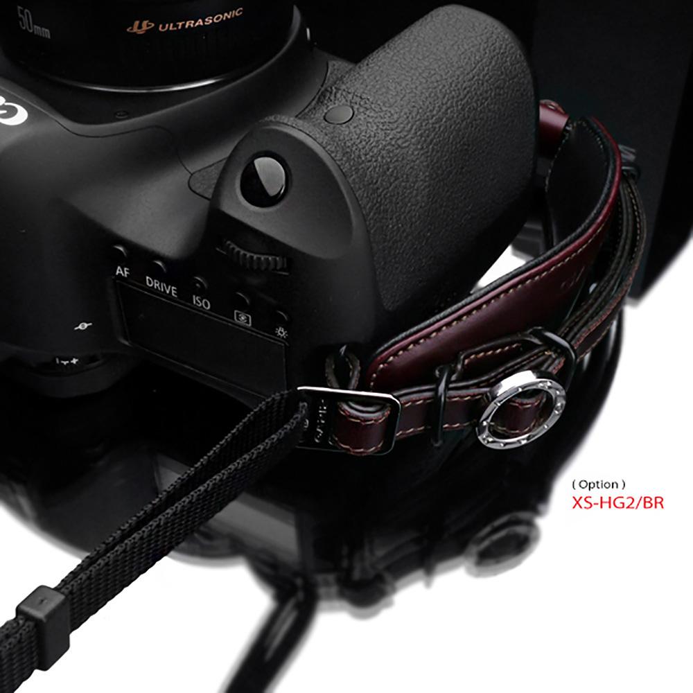 GARIZ 本革カメラネックストラップ ミニポーチ付 ブラウン XS-DSLBR