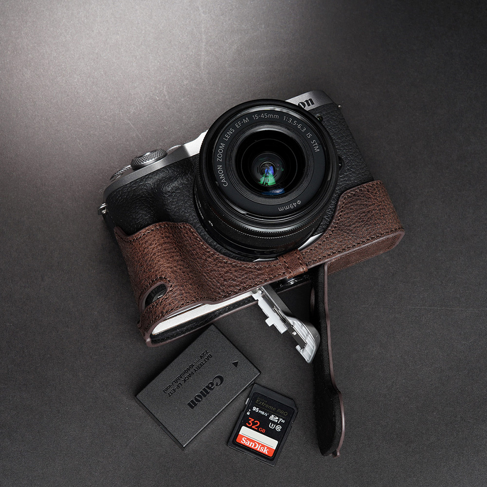 TP Original Canon EOS M6 Mark II 用 ボディーハーフケース ダークブラウン
