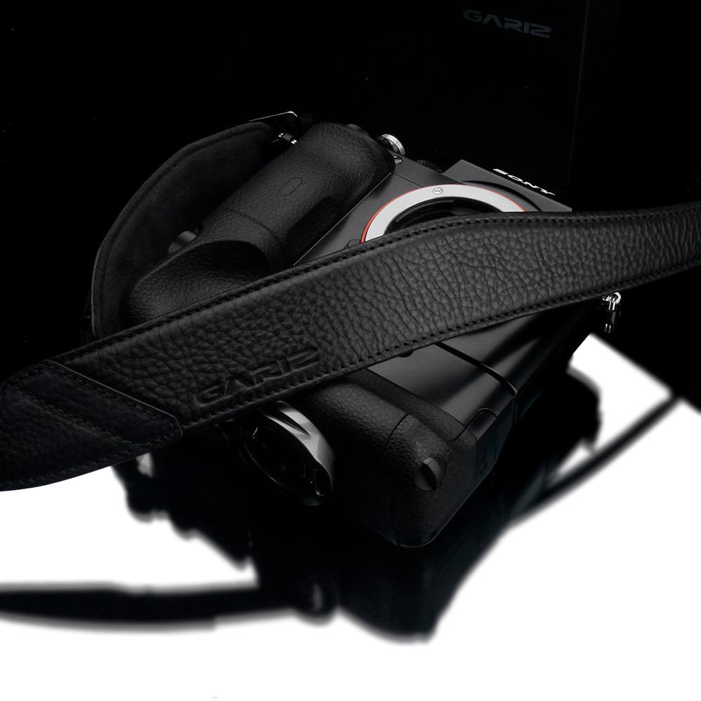 GARIZ Italian Leather with Alcantara カメラネックストラップ+カメラグリップ+専用プレートセット AT-NFABK ブラック