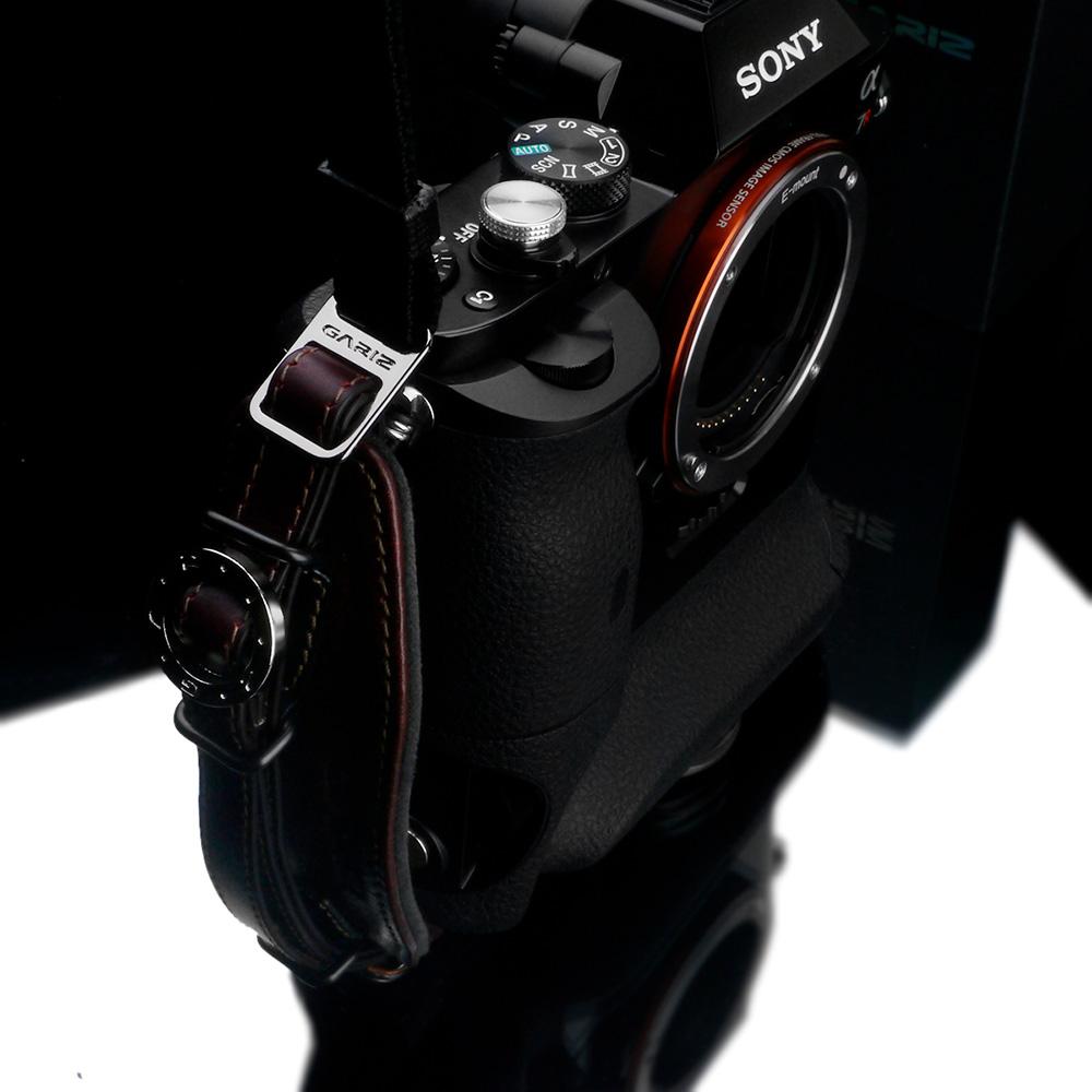 GARIZ Italian Leather with Alcantara カメラネックストラップ+カメラグリップ+専用プレートセット AT-NFABR ブラウン