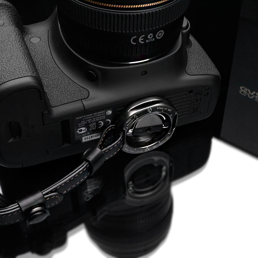 GARIZ 本革カメラハンドグリップ&ネックストラップ(ポーチ付)+プレートセット XS-NFBK ブラック