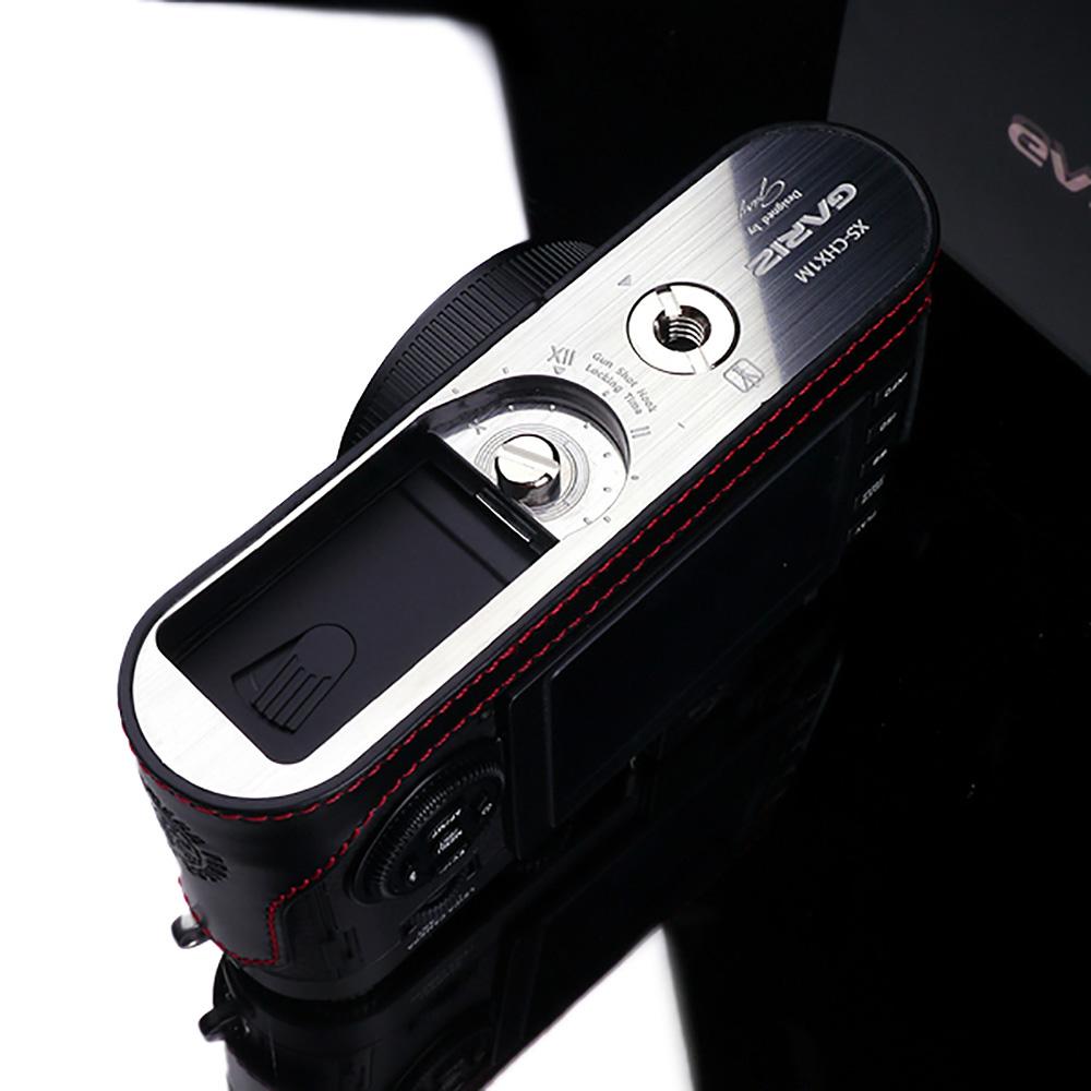 GARIZ Leica X1/X2用 本革カメラケース XS-CHX1MBKR ブラックレッドステッチ
