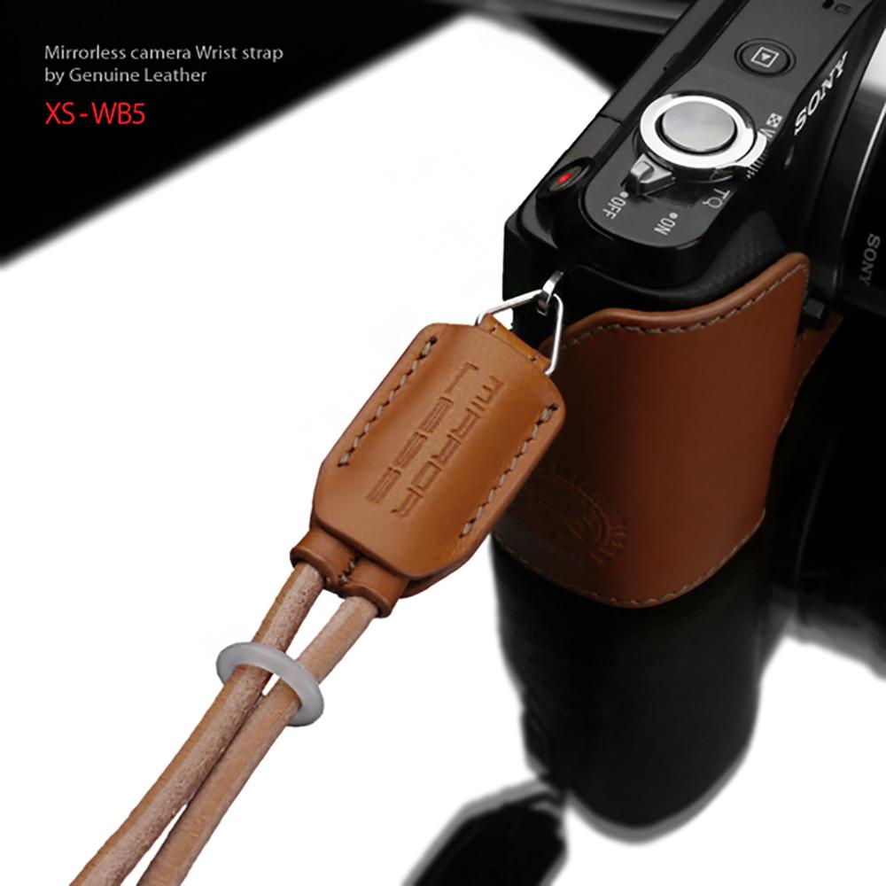 GARIZ 本革カメラリストストラップ XS-WB5 ライトブラウン