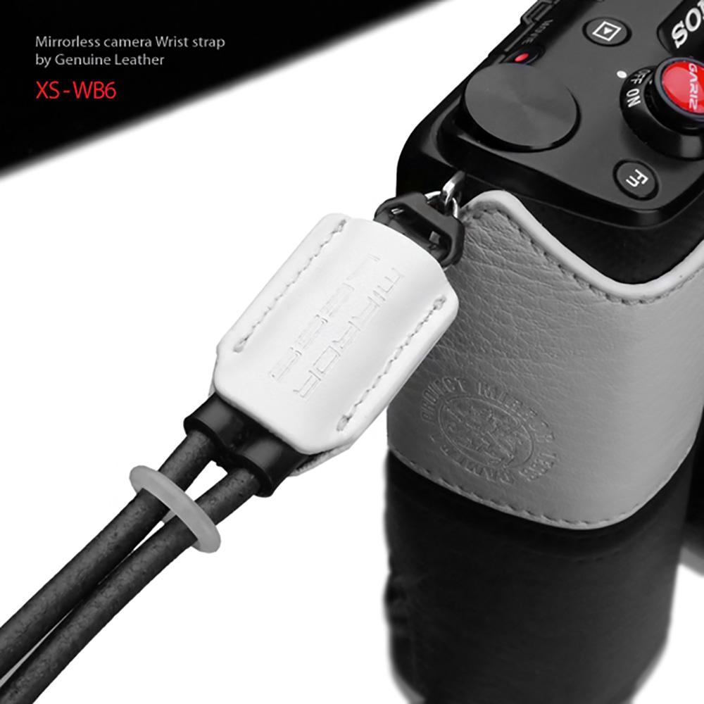 GARIZ 本革カメラリストストラップ XS-WB6 ホワイト×ブラック