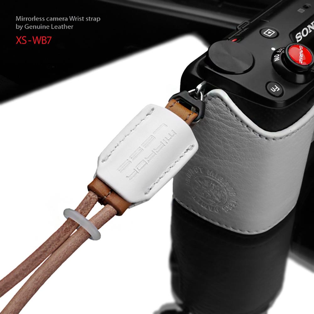 GARIZ 本革カメラリストストラップ XS-WB7 ホワイト×ナチュラル