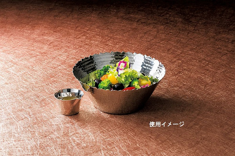 【用】ステンレス槌目 サラダボウル L