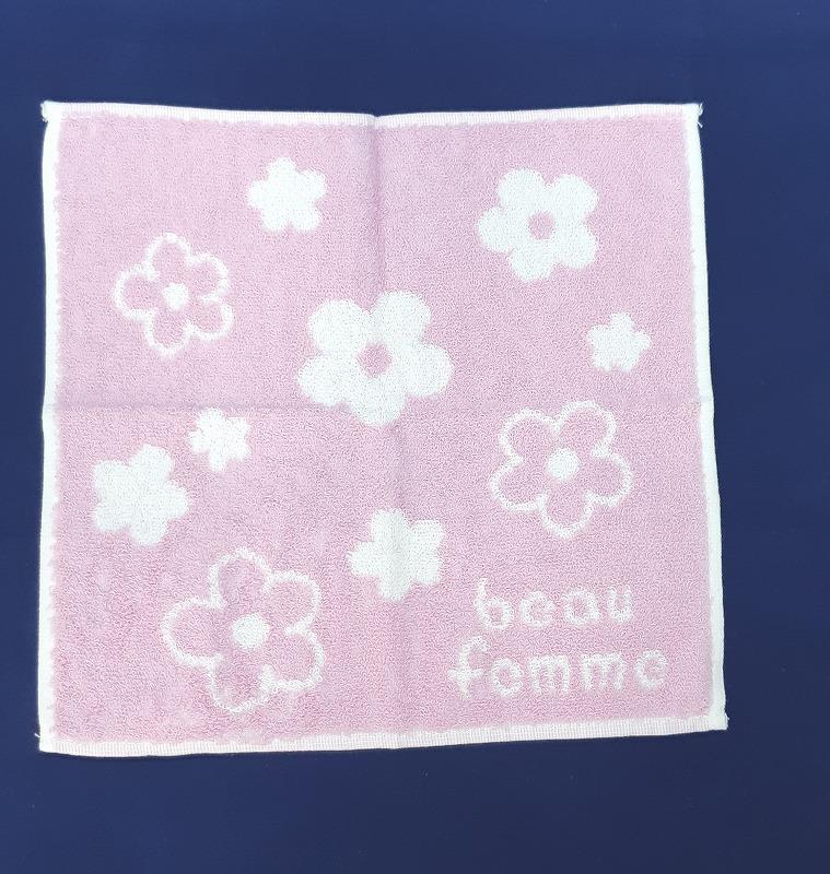 IONMAX タオルハンカチ『beau femme』 花柄ピンク