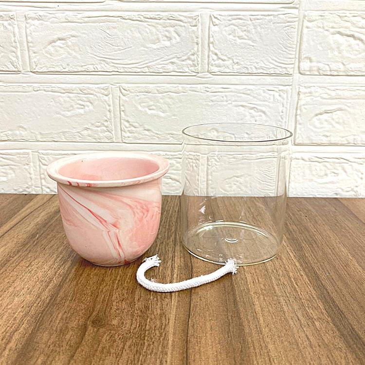 ガラス素材 マーブル模様 イージーポット Kシリーズ ピンク