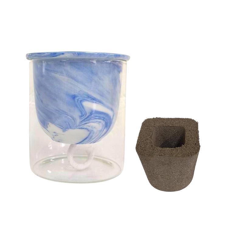 ガラス素材 マーブル模様  育成セット イージーポット Kシリーズ ブルー 3号パフカル付き