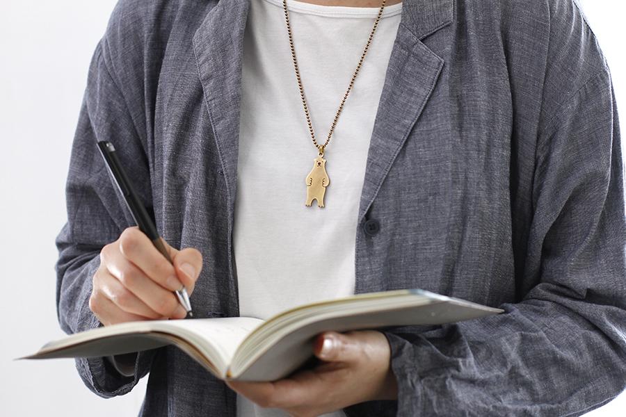 真鍮ネックレス(ロングチェーン) 白くま