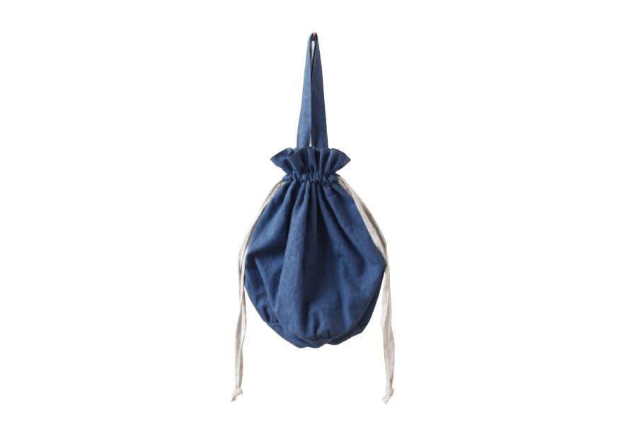 海の色の巾着バッグ(大)
