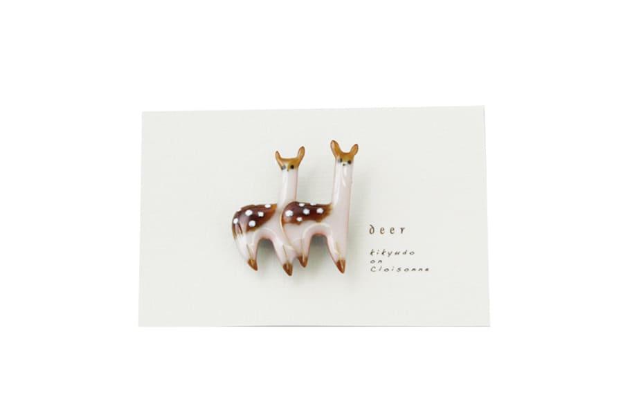 【春の贈り物展】エゾシカペアのブローチ