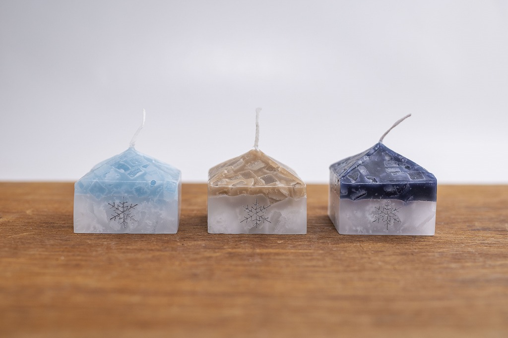 【北海道スロウなお買い物展】雪の結晶キャンドル 家の形