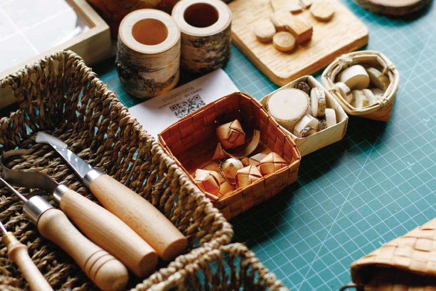 【春の贈り物展】白樺細工 キューブのオーナメント
