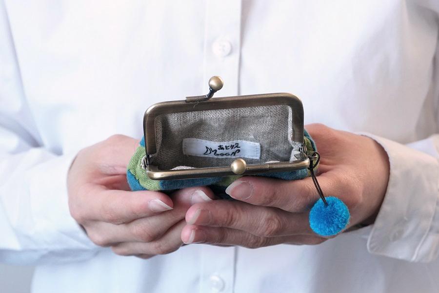 【春の贈り物展】水玉がま口・角7.5�ミニ
