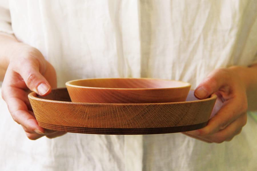 筋挽き二色皿 φ210