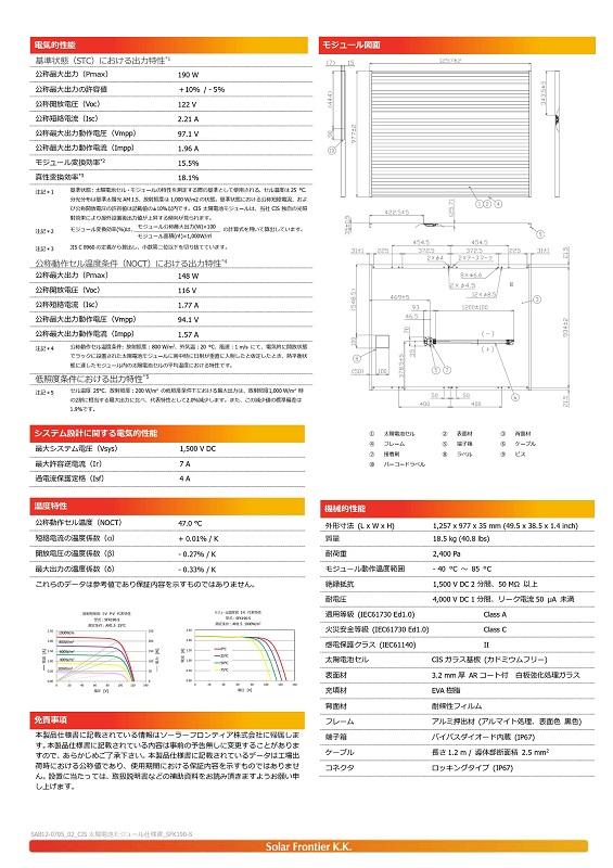 【CIS190W】ソーラーフロンティア 太陽光パネル SFK190-S