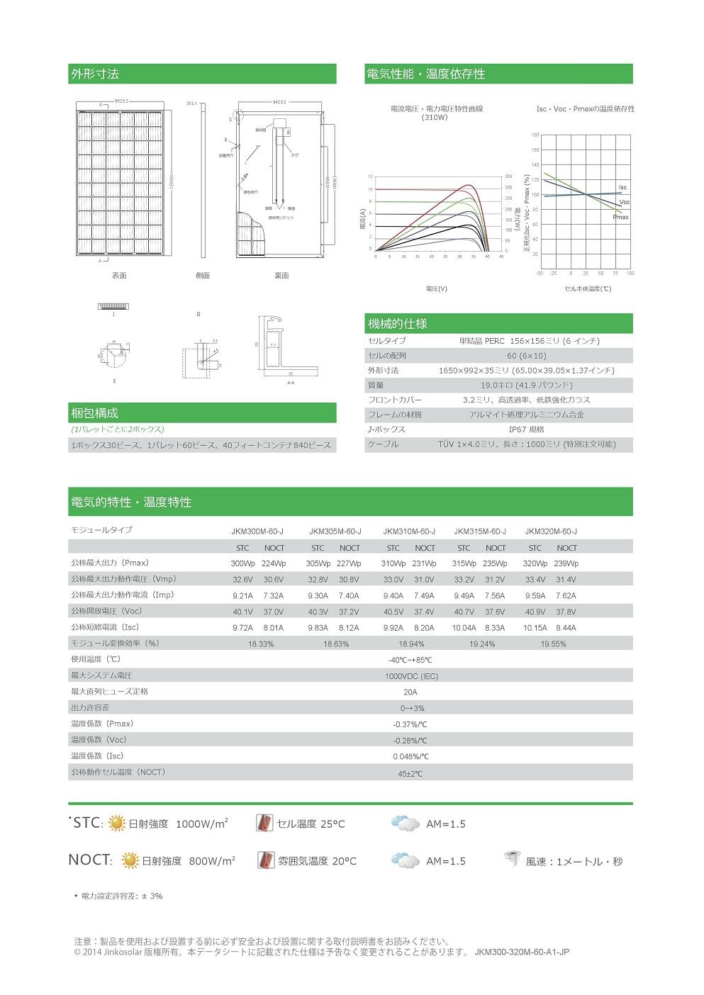 【単結晶310W】ジンコソーラー 太陽光発電パネル JKM310M-60-J ソーラーパネル