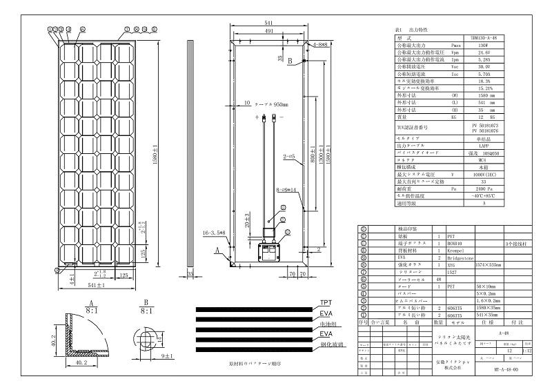 【単結晶130W】タイタン 太陽光発電パネル TDM130-A-48 ソーラーパネル