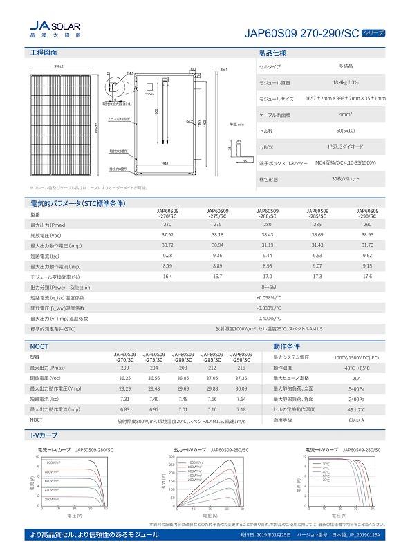 【多結晶280W】JAソーラー 太陽光発電パネル JAP60S09-280/SC ソーラーパネル