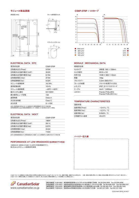 【多結晶270W 1638mm】カナディアンソーラー 太陽光発電パネル CS6P-270P ソーラーパネル