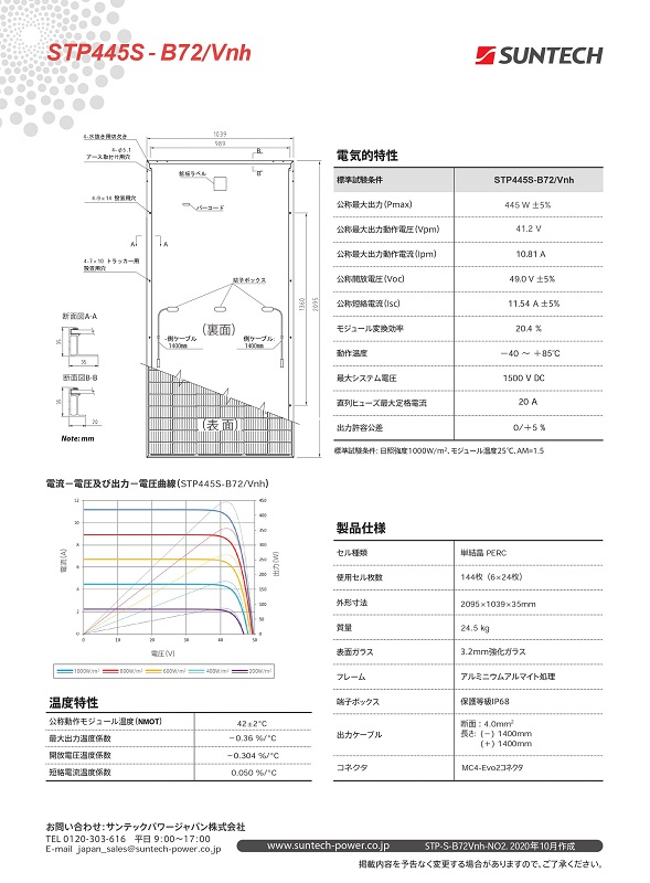 【単結晶445W】サンテックパワー 太陽光発電パネル STP445S-B72/Vnh ソーラーパネル