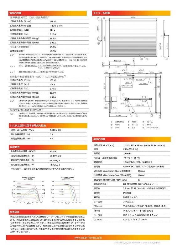 【CIS薄膜系175W】ソーラーフロンティア 太陽光パネル SF175-S