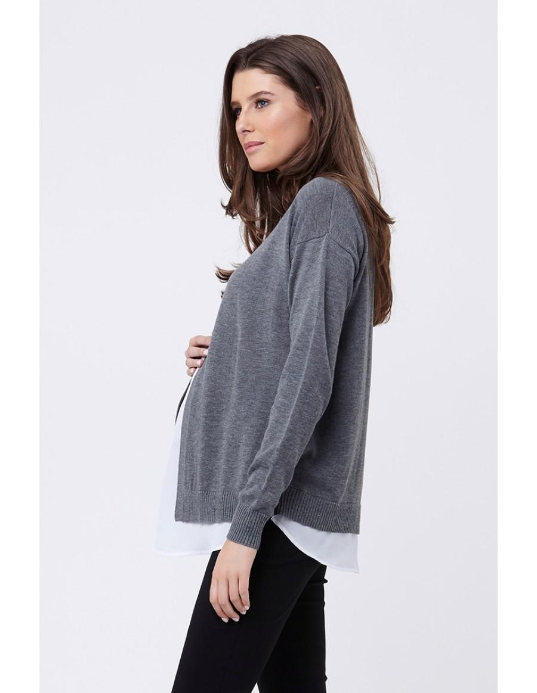 RIPE maternity <授乳対応> CROSS FRONT マタニティセーター -グレイ