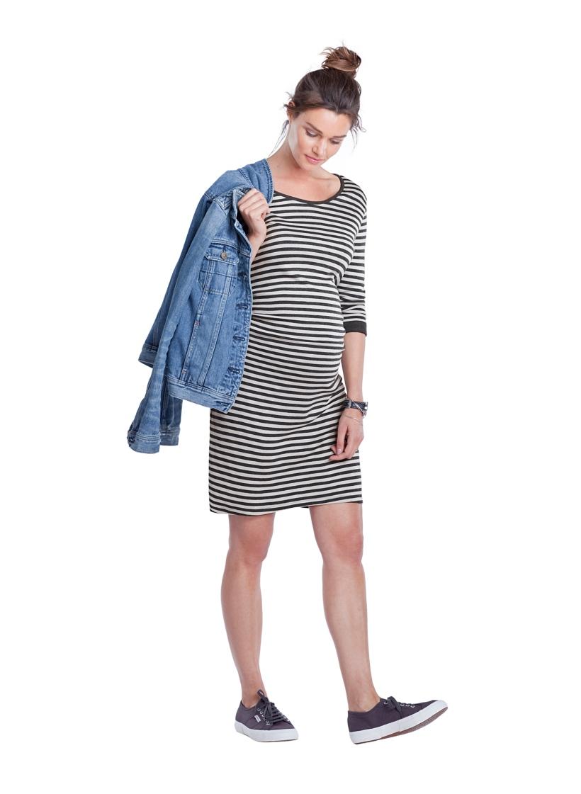 Isabella Oliver エリーストライプマタニティチュニックドレス -グレイストライプ