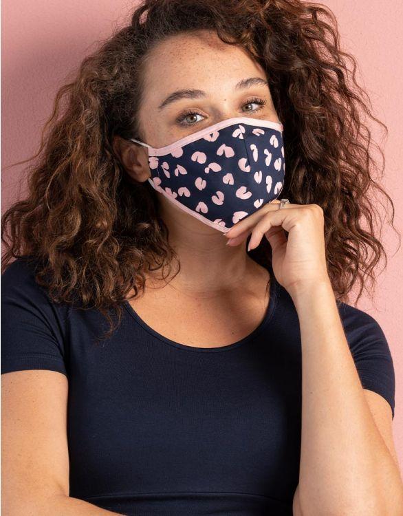Seraphine MASK コットンフェイスマスク 2点セット -ネイビーxハートプリント
