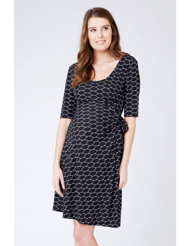 RIPE maternity ハニーコンブナーシングワンピース -ブラック×ホワイト