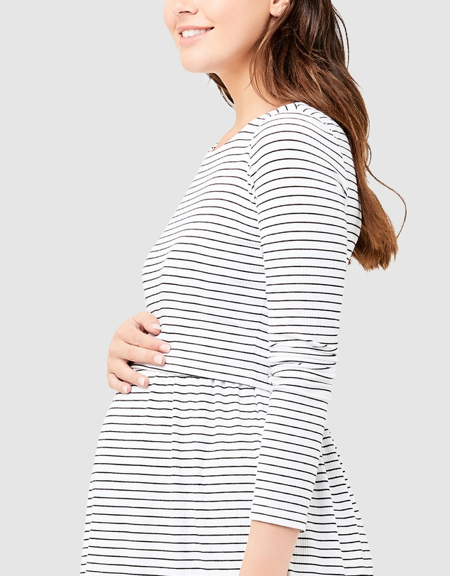 RIPE maternity SHELLY<授乳対応>クロップトップマタニティワンピース -ホワイト/ブラック
