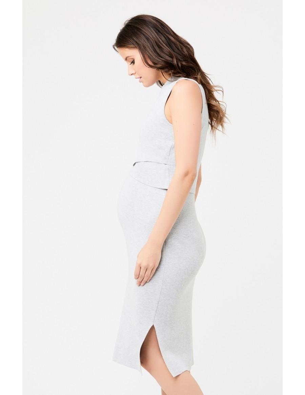 RIPE maternity <授乳対応>レイヤーニットマタニティワンピース -グレイ