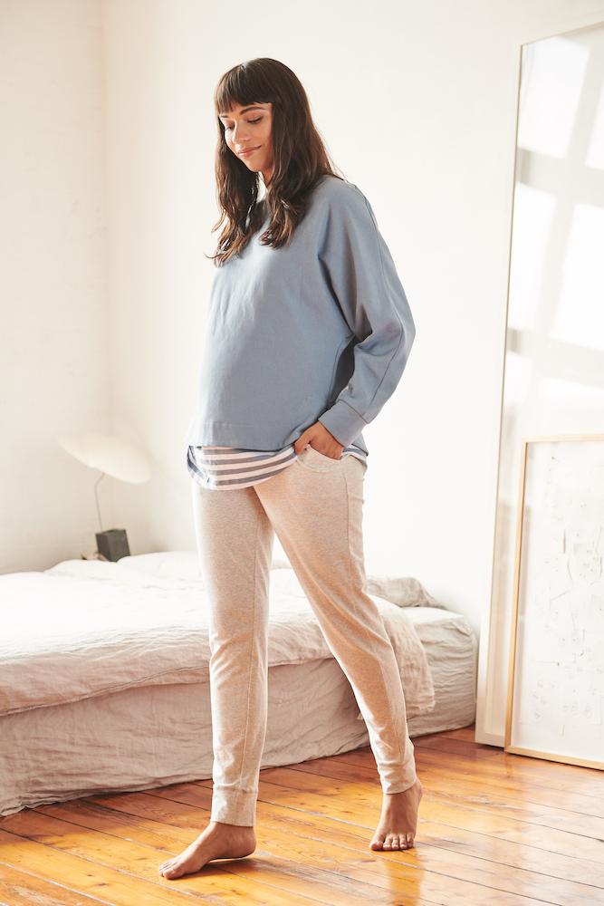 RIPE maternity ANDY <授乳対応> マタニティスエットトップ -ペトロールブルー