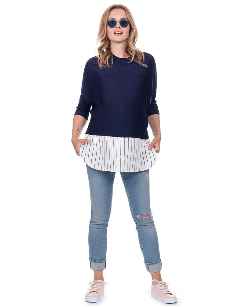 Seraphine LYLA <授乳対応>レイヤードシャツセーター -ネイビーストライプ