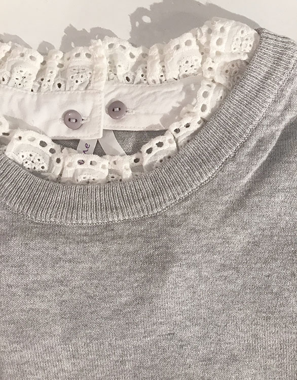 Seraphine JUPITER <授乳対応>レイヤードシャツセーター -グレイ
