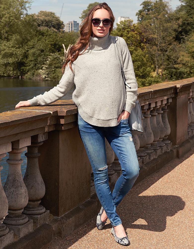 Seraphine ALMA テクスチャーニットケープセーター -グレイ