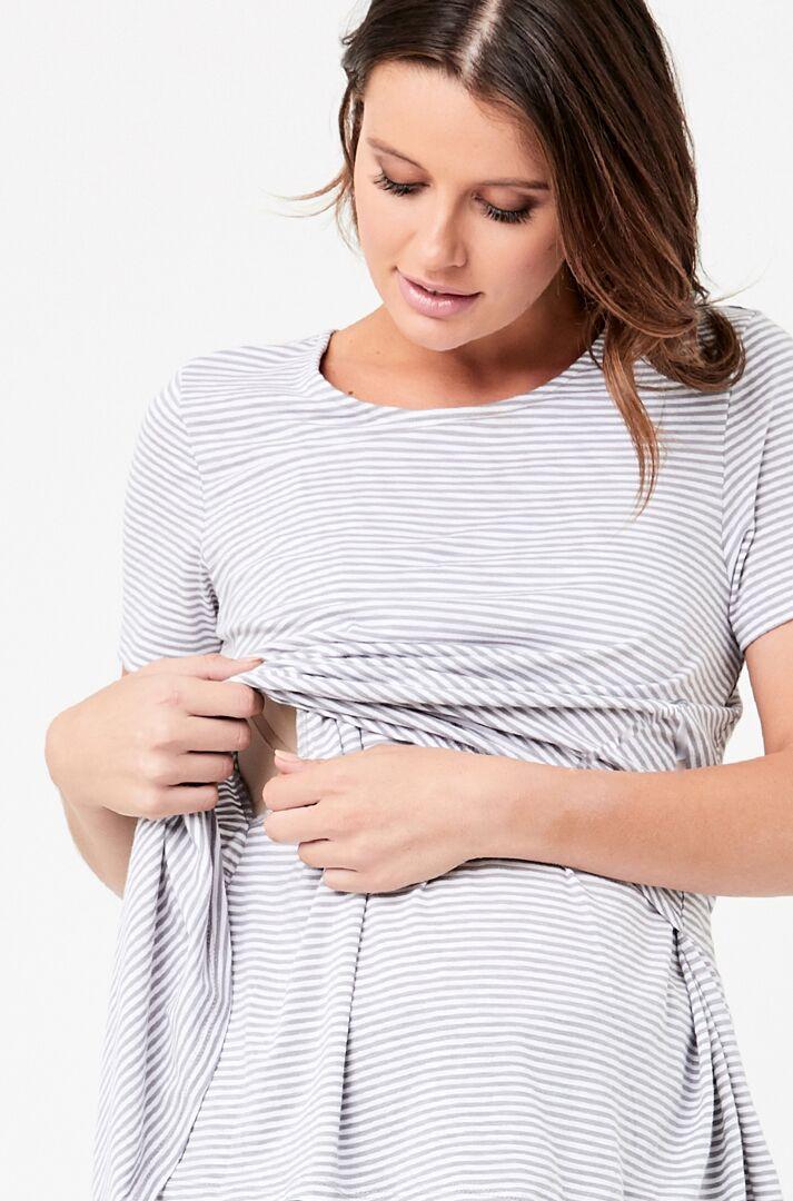 RIPE maternity <授乳対応>メゾンマタニティ ティシャツ -グレイストライプ