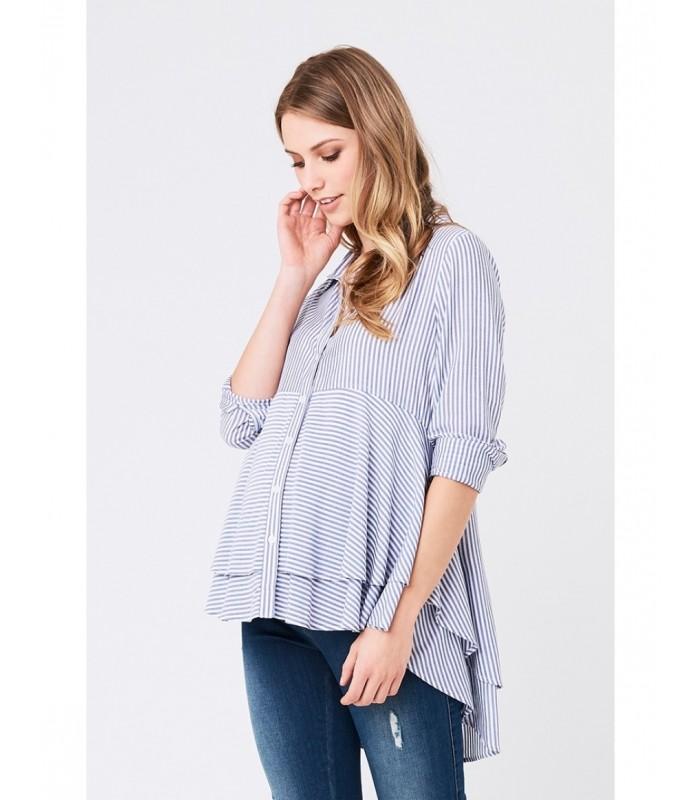 RIPE maternity <授乳対応>レイヤードペプラムマタニティシャツ -ブルーストライプ