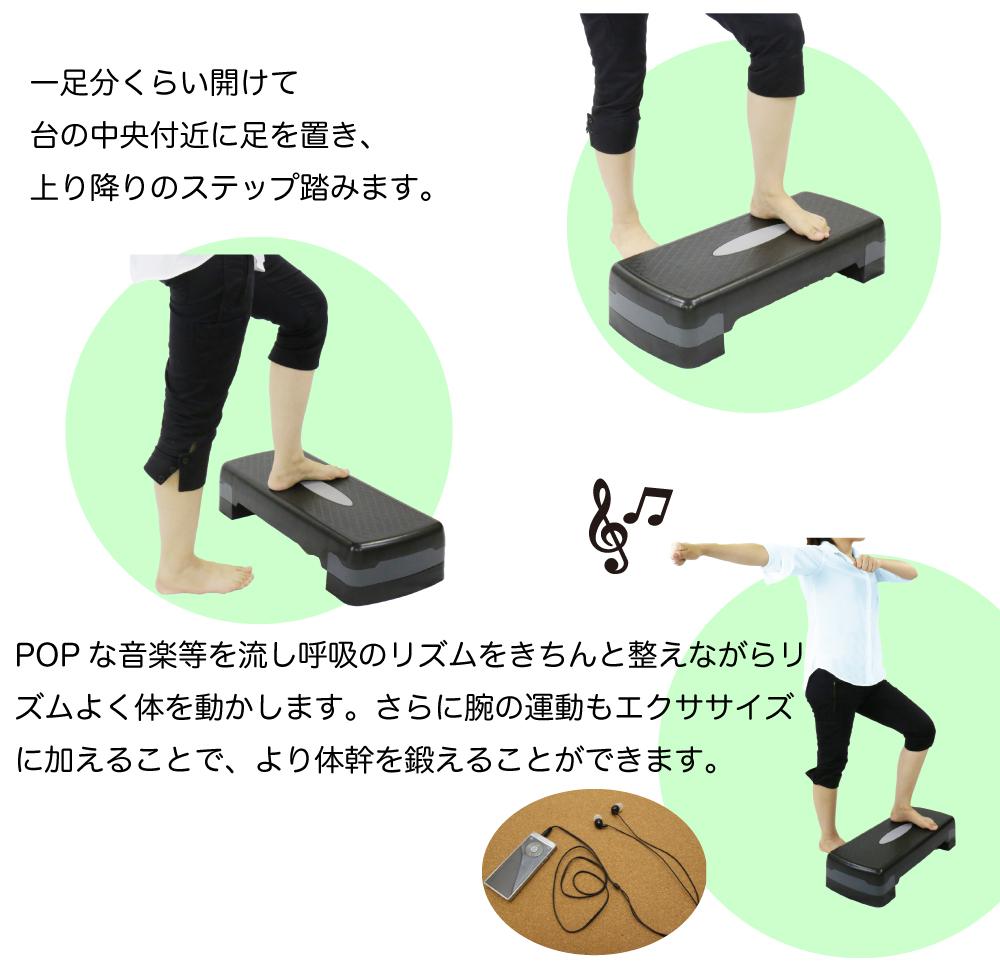 RIORES エアロビクス ステップ / 踏み台 踏み台昇降 ステッパー エアロビックステップ ダイエット 体幹 インナーマッスル エアロビ ダイエットステップ