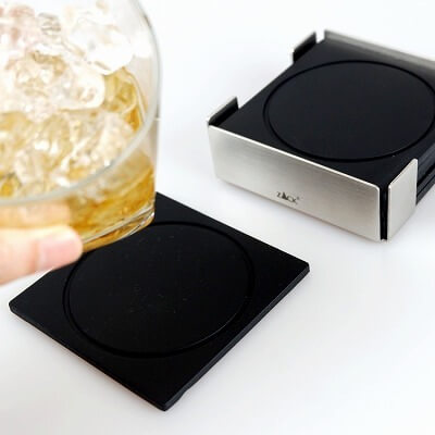 PLAZA coaster with holder set/6