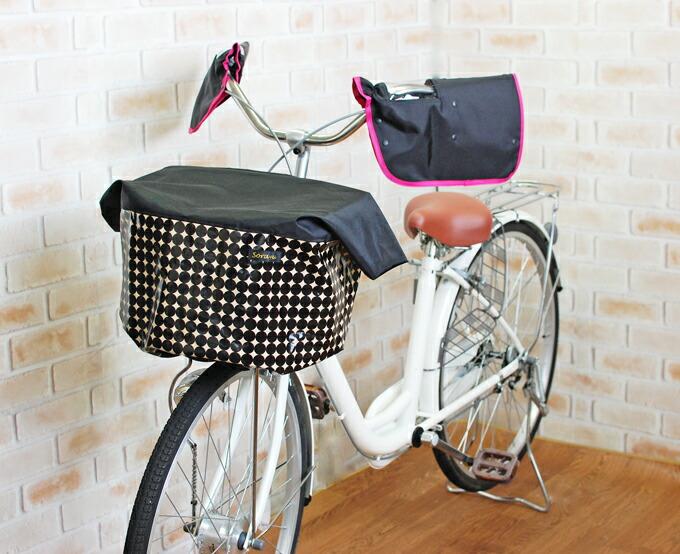 エクストラワイドサイズ:ブラック×マーブル柄バスケットカバー(自転車前カゴカバー)