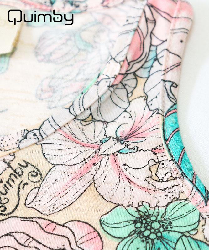 ■30%OFF■【QUIMBY】女の子タンクトップ&ショートパンツセット【おしゃれ・子供服】フラワーガーデン アイボリー×チャコール