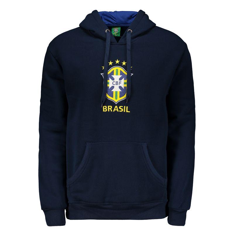 サッカーブラジル代表公式エンブレム刺繍パーカー【CBF】裏起毛 | ネイビー