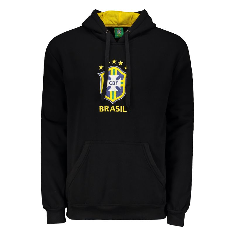 サッカーブラジル代表公式エンブレム刺繍パーカー【CBF】裏起毛| ブラック